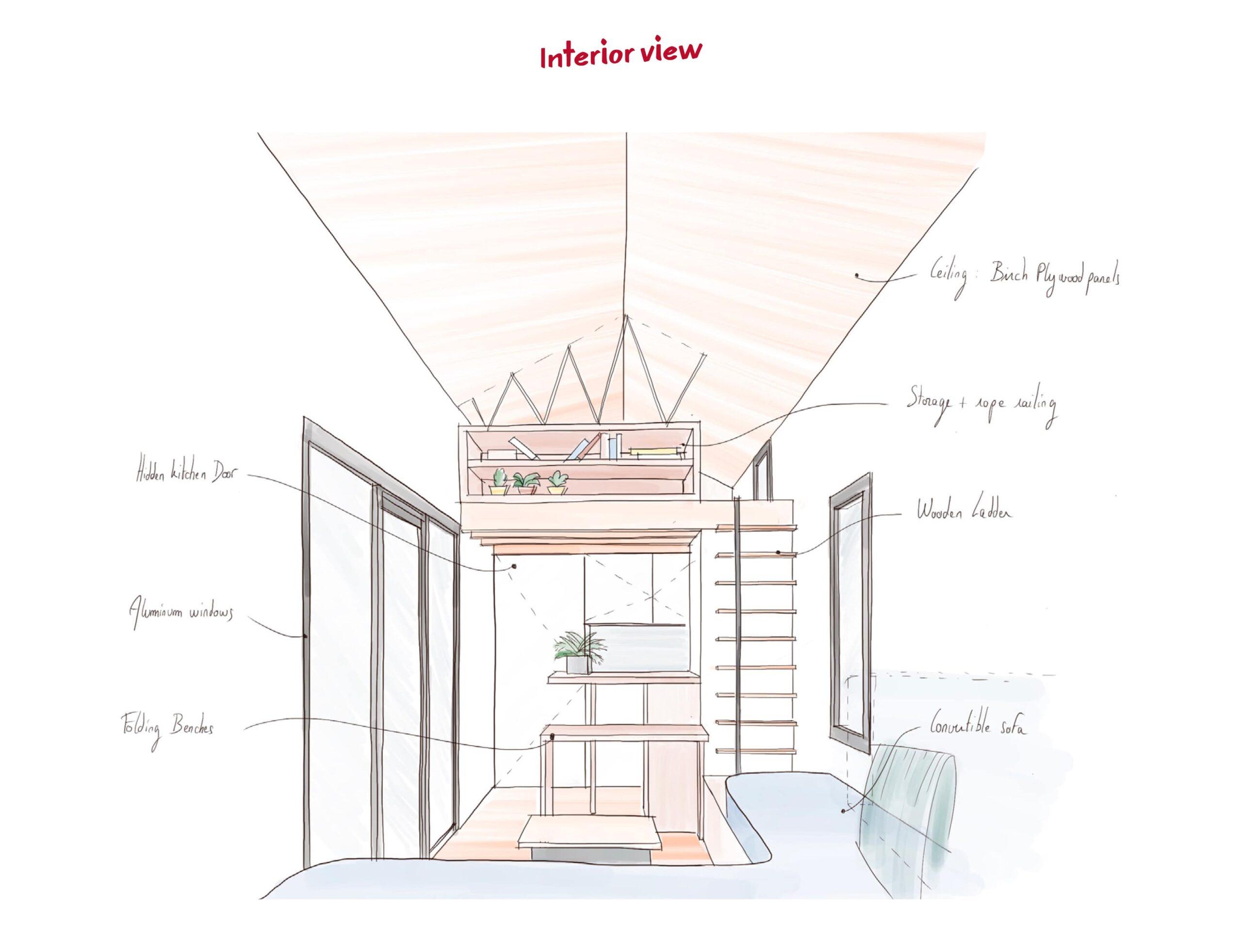Mezzanine de la tiny house Chic